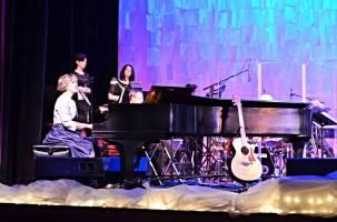 Frances @ piano w: BGVs and guitar